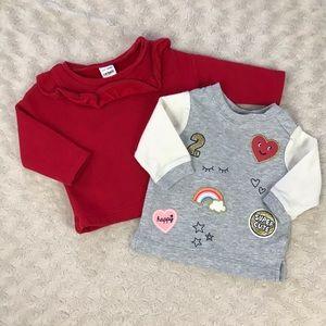 Carter's Sweatshirt Top Bundle 3 Months Red Gray